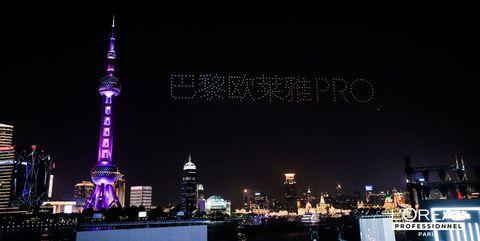 巴黎欧莱雅pro先锋发艺秀以300台无人机开场