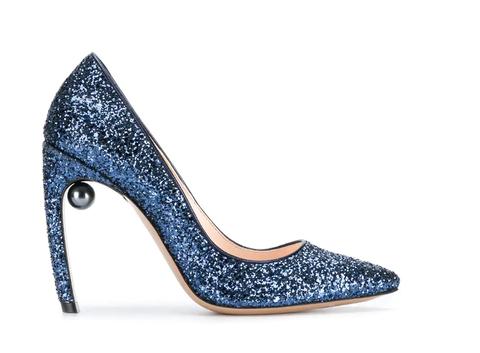 Footwear, High heels, Blue, Shoe, Court shoe, Basic pump, Glitter, Electric blue, Leg, Fashion accessory,