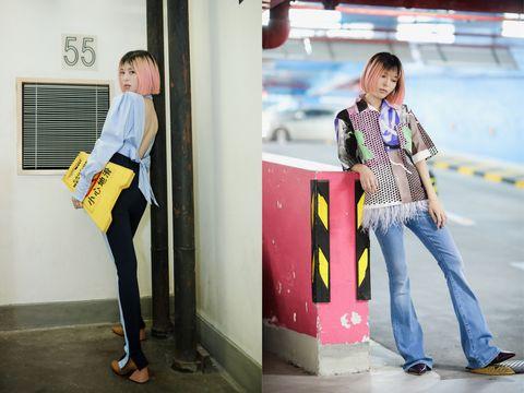 Photograph, Jeans, Clothing, Denim, Standing, Yellow, Fashion, Snapshot, Street fashion, Footwear,