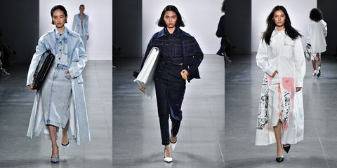 Fashion model, Clothing, Fashion, Runway, Fashion show, Footwear, Outerwear, Denim, Fashion design, Shoe,