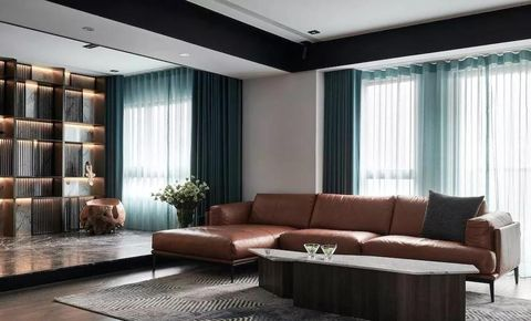 Living room, Furniture, Interior design, Room, Property, Curtain, Couch, Wall, Building, Ceiling,