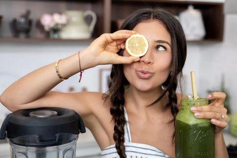 Beauty, Skin, Drinking, Lip, Drink, Vegetable juice, Black hair, Long hair, Smoothie, Juice,
