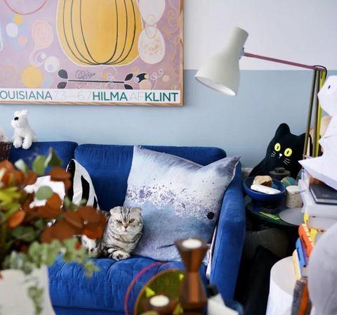 Blue, Room, Yellow, Interior design, Wall, Bedroom, Furniture, Orange, Textile, Bed,