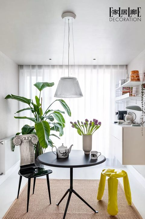White, Room, Interior design, Furniture, Green, Property, Floor, Yellow, Table, Dining room,