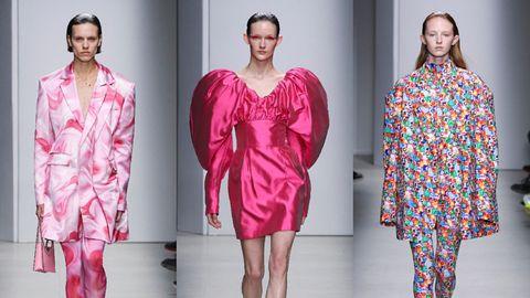 Clothing, Fashion model, Fashion, Pink, Magenta, Dress, Robe, Nightwear, Day dress, Sleeve,