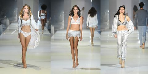 Fashion model, Clothing, Fashion, Runway, Fashion show, Lingerie, Model, Leg, Fashion design, Event,