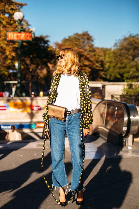 Jeans, Denim, Street fashion, Clothing, Yellow, Fashion, Jacket, Shoulder, Cobalt blue, Textile,