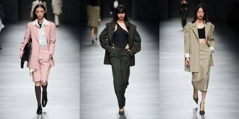 Fashion model, Clothing, Fashion, Runway, Fashion show, Outerwear, Fashion design, Footwear, Trousers, Jacket,