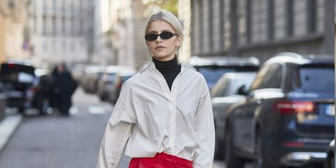 Street fashion, White, Red, Photograph, Clothing, Fashion, Suit, Snapshot, Trousers, Outerwear,