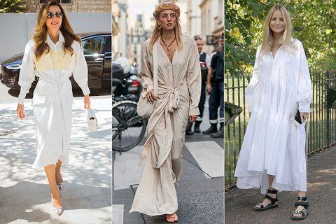 Clothing, White, Street fashion, Fashion, Fashion model, Dress, Trench coat, Outerwear, Footwear, Coat,