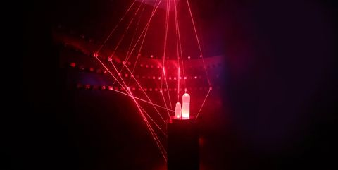 Light, Red, Technology, Water, Lighting, Visual effect lighting, Laser, Neon, Night, Electronic device,