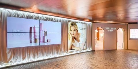 Wall, Building, Flooring, Interior design, Floor, Ceiling, Room, Architecture, Advertising, Tourist attraction,