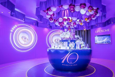 Violet, Purple, Blue, Light, Lighting, Stage, Animation, Ceiling, Interior design,