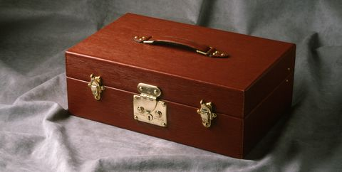 Box, Trunk, Material property, Packaging and labeling, Fashion accessory, Leather, Rectangle, Furniture, Metal, Lock,