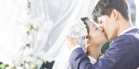Photograph, Wedding dress, Bride, Yellow, Veil, Bridal clothing, Romance, Forehead, Wedding, Ceremony,