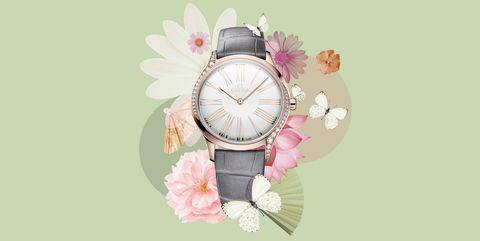 Analog watch, Watch, Pink, Product, Fashion accessory, Jewellery, Font, Illustration, Still life photography, Quartz,