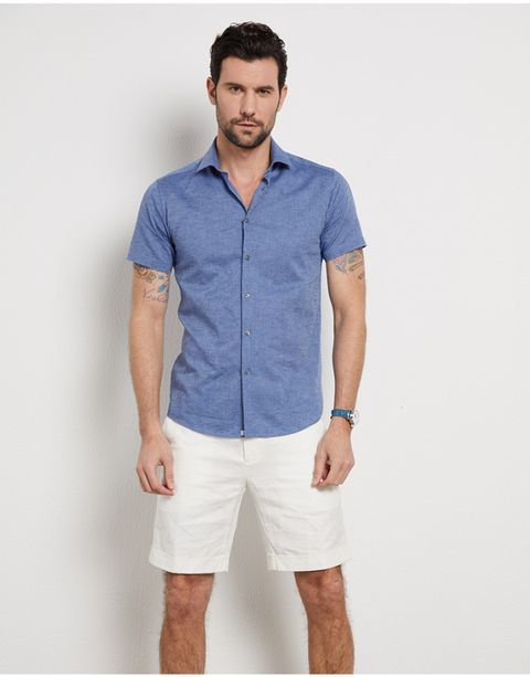 Clothing, Blue, White, Shorts, Sleeve, Collar, T-shirt, Bermuda shorts, Pocket, Denim,