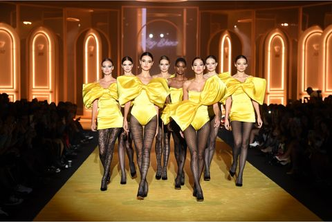 Fashion, Fashion show, Runway, Fashion model, Yellow, Event, Haute couture, Fashion design, Fun, Model,