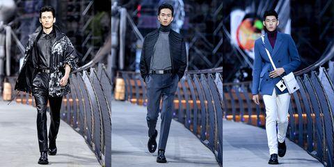 Fashion, Street fashion, Fashion model, Runway, Suit, Footwear, Human, Outerwear, Fashion show, Event,