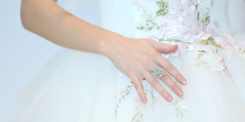 Nail, Finger, Hand, Manicure, Dress, Ring, Wedding dress, Bride, Jewellery, Nail care,