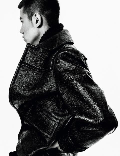 White, Black, Jacket, Black-and-white, Monochrome, Standing, Fashion, Outerwear, Photography, Leather jacket,