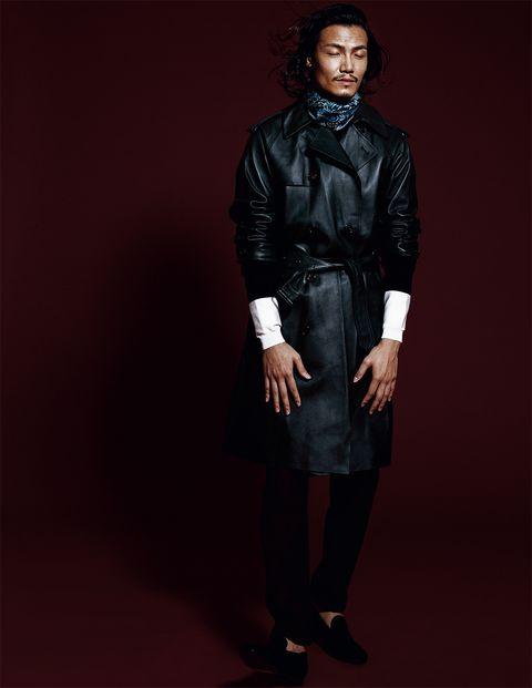 Clothing, Leather, Fashion, Leather jacket, Jacket, Fashion model, Collar, Textile, Outerwear, Footwear,