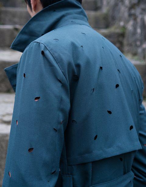 Clothing, Outerwear, Blue, Sleeve, Jacket, Design, Uniform, Pattern, Coat, Top,