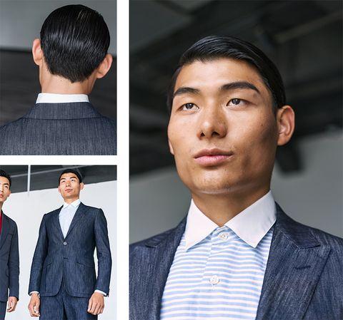 Hair, Suit, White-collar worker, Chin, Hairstyle, Formal wear, Forehead, Collar, Blazer, Neck,
