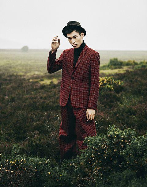 Standing, Plaid, Outerwear, Tartan, Photography, Headgear, Pattern, Grassland,