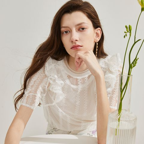 White, Clothing, Shoulder, Beauty, Sleeve, Lace, Arm, Lip, Neck, Joint,