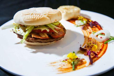 Dish, Food, Cuisine, Hamburger, Ingredient, Veggie burger, Slider, Fast food, Breakfast sandwich, Produce,