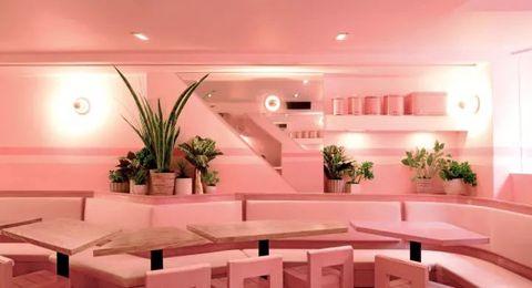 Interior design, Ceiling, Pink, Room, Lighting, Building, Architecture, Furniture, Flooring, Floor,