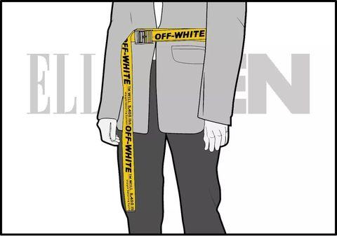 Clothing, Yellow, Cartoon, Line, Sportswear, Font, Outerwear, Trousers, Illustration,