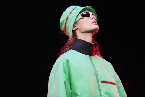 Green, Fashion, Outerwear, Headgear, Eyewear, Performance,