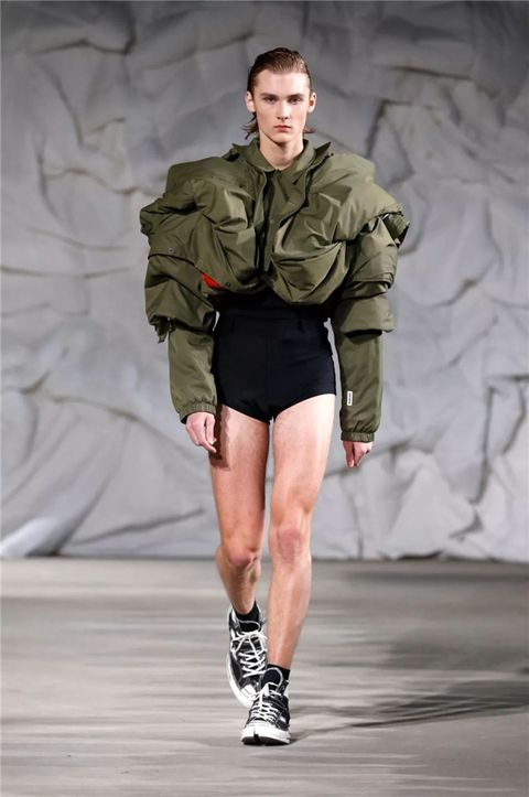 Fashion, Fashion show, Clothing, Runway, Military, Jacket, Camouflage, Shorts, Human, Joint,
