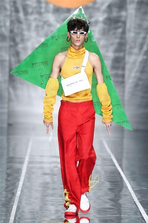 Clothing, Fashion, Green, Yellow, Costume, Runway, Fashion show, Cosplay, Fashion model, Fashion design,