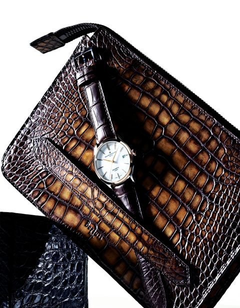 Fashion accessory, Leather, Handbag, Bag, Watch, Wallet, Material property, Brand, Rectangle,