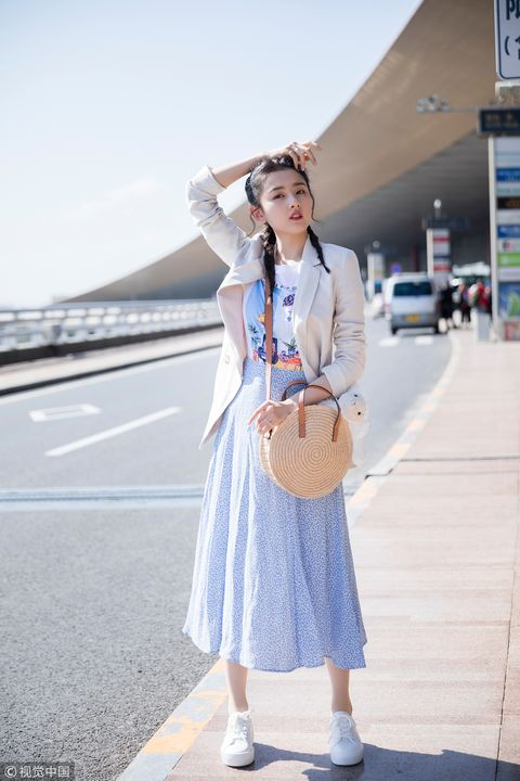 Clothing, White, Blue, Street fashion, Fashion, Snapshot, Footwear, Denim, Dress, Uniform,