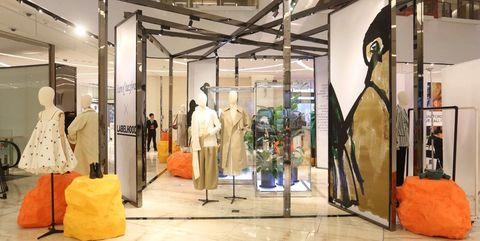 Boutique, Building, Interior design, Ceiling, Room, Art,