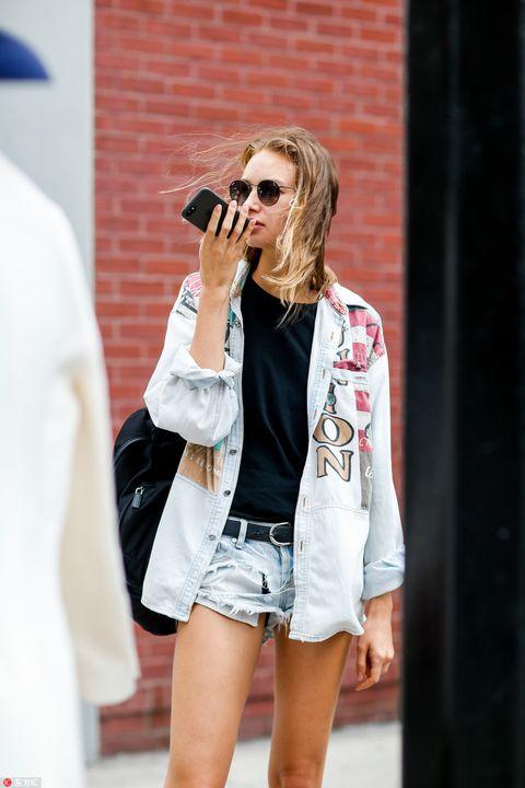 White, Clothing, Street fashion, Fashion, Shorts, Jeans, Eyewear, Jacket, Denim, Outerwear,