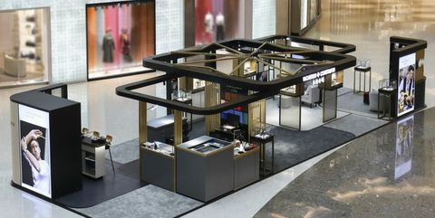 Display case, Furniture, Table, Interior design, Room, Architecture, Design, Building, Material property, Floor,