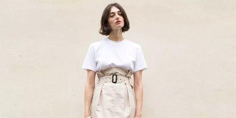 Clothing, White, Street fashion, Dress, Shoulder, Fashion, Waist, Pencil skirt, Footwear, Beige,
