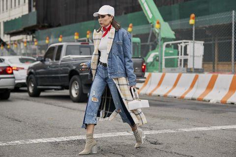 Street fashion, Denim, Jeans, Workwear, Fashion, Vehicle, Asphalt, Road, Street, Pedestrian,