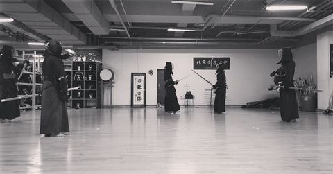 Kendo, Room, Black-and-white, Flooring, Iaidō, Floor, Japanese martial arts, Photography, Stock photography, Contact sport,