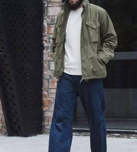 Clothing, Jeans, Street fashion, Outerwear, Jacket, Denim, Fashion, Snapshot, Standing, Coat,