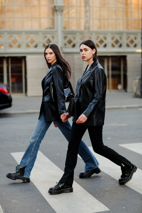 Street fashion, Clothing, Black, Jeans, Leather, Leather jacket, Fashion, Footwear, Jacket, Outerwear,