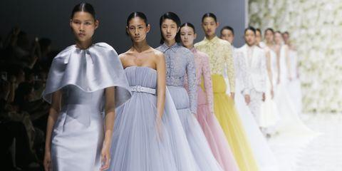 Fashion, Fashion model, Dress, Clothing, Haute couture, Gown, Fashion design, Runway, Fashion show, Beauty,