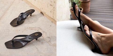 Footwear, Shoe, Sandal, Leg, Ballet flat, High heels, Foot, Ankle,