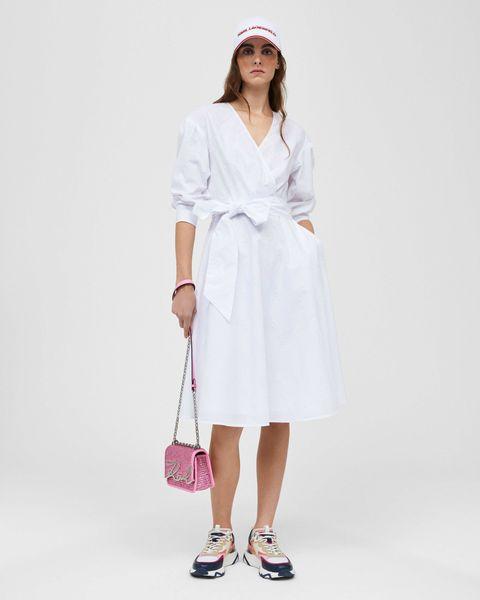logo刺绣裹身白色衬衫连衣裙