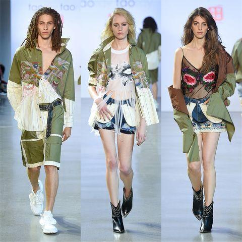 Fashion model, Clothing, Fashion, Runway, Fashion show, Fashion design, Footwear, Shorts, Outerwear, Camouflage,